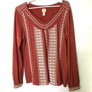 Lucky Brand sz Large women v-neck knit top boho em